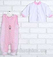 Комплект для малыша Татошка 08348 велюр розово-белый 56
