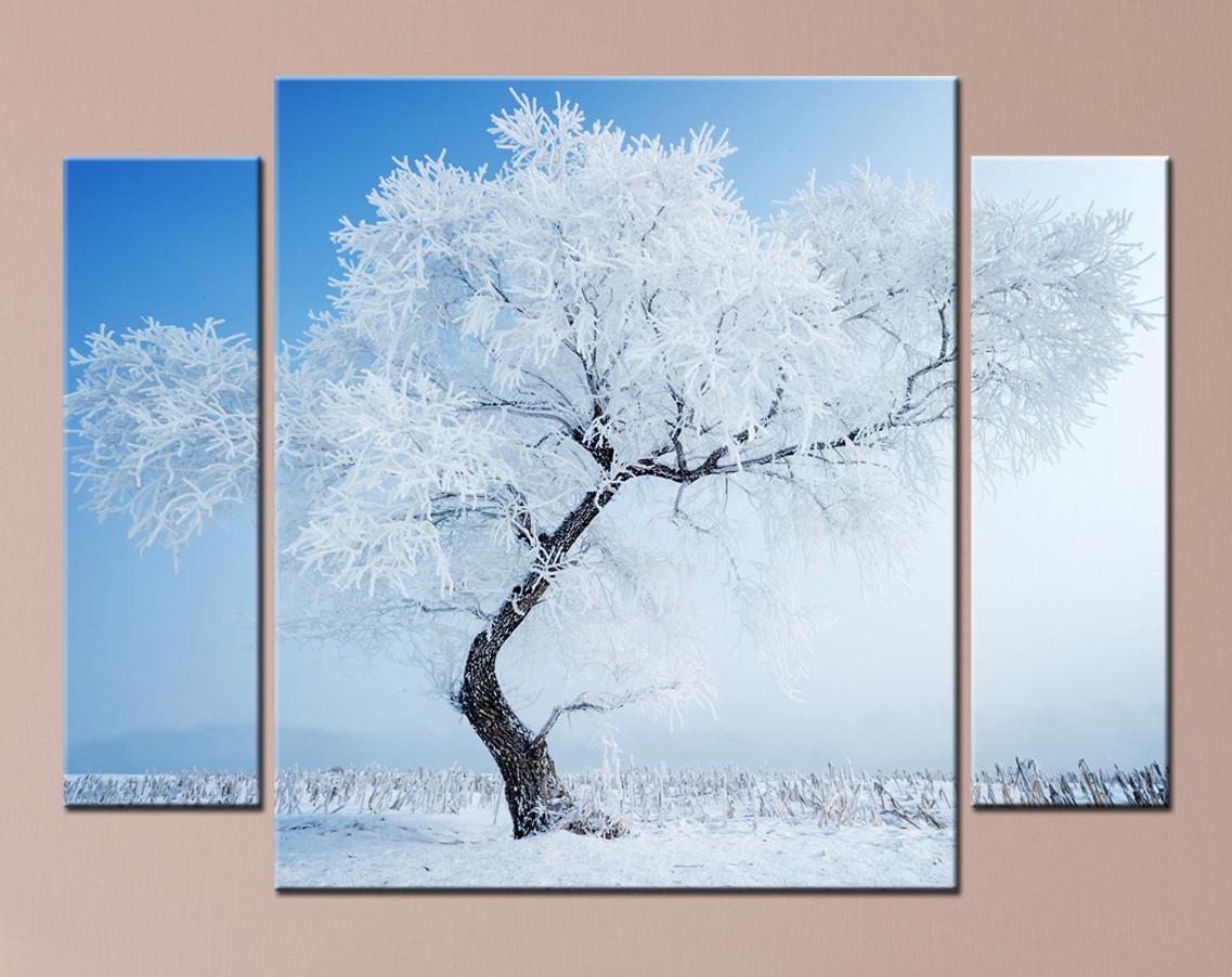 "Модульная картина ""Заснеженное дерево"""