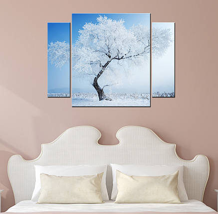 "Модульная картина ""Заснеженное дерево"", фото 2"