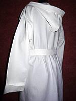 Халат с капюшоном (мужской/женский/унисекс), р.52-54. Белый. Вафельное полотно пл. 220 г/м2, хлопок 100%.
