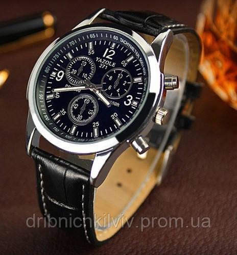 Стильные мужские часы Yazole. Черный ремешок
