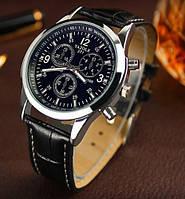 Стильные мужские часы Yazole. Черный ремешок, фото 1