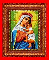 """Схема, частичная вышивка бисером, габардин, икона Божией Матери """"Отчаянных единая надежда"""""""