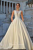 Свадебное платье с атласной юбкой кружевной верх с шелковой нитью.Клаудия