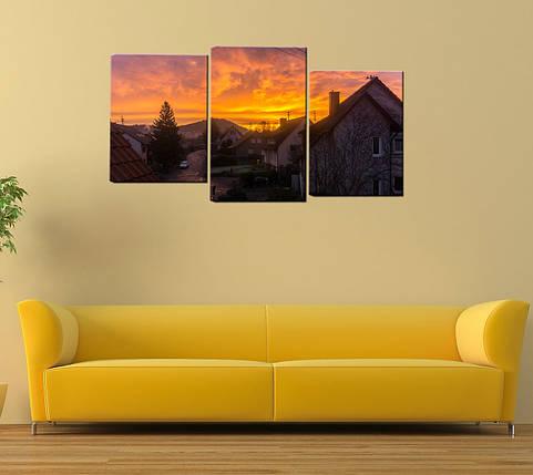 "Модульная картина ""Закат над домами"", фото 2"