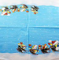 """Салфетка декупажная 33x33см 28 """"Пингвинчики в радужных шарфах""""(товар при заказе от 500грн)"""