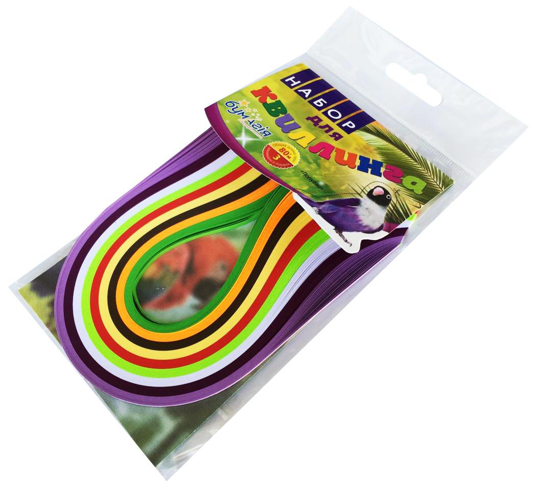 Папір для квілінгу ПТАХИ 9 кольорів (3мм х 300мм) для створення панно з паперових стрічок