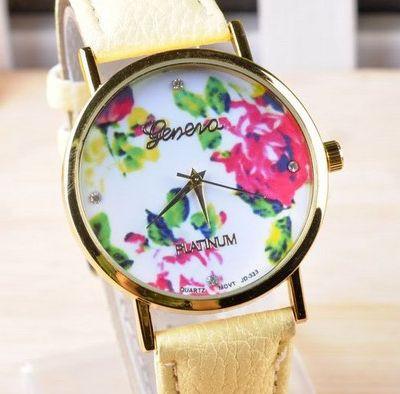 Часы Geneva (yellow) - гарантия 6 месяцев