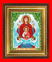 """Схема, частичная вышивка бисером, габардин, икона Пресвятая Богородица """"Знамение"""""""