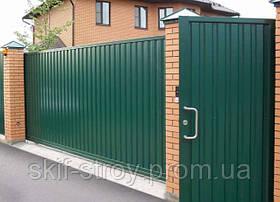 Ворота и калитка, забор из профнастила.