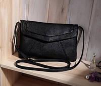 Жіноча сумка клатч конверт чорного кольору, фото 1