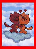 """Схема, частичная вышивка бисером, атлас, """"Влюбленные котики"""" (""""На седьмом небе"""")"""