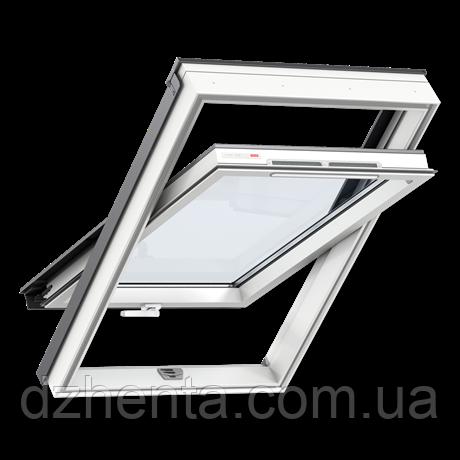 Мансардное окно GLP 0073B, ручка снизу, белый ПВХ