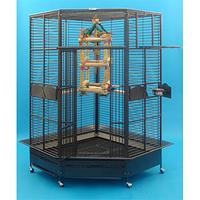 Вольер большой угловой для попугаев H 188 см,шаг 2,5 см, прут 6 мм.