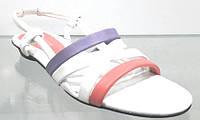 Босоножки женские Masi Maluo белые-цветные из натуральной кожи без каблука, женские босоножки
