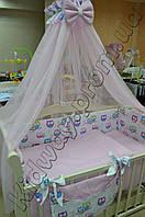 Комплект постельного белья Совы с розовым горошком