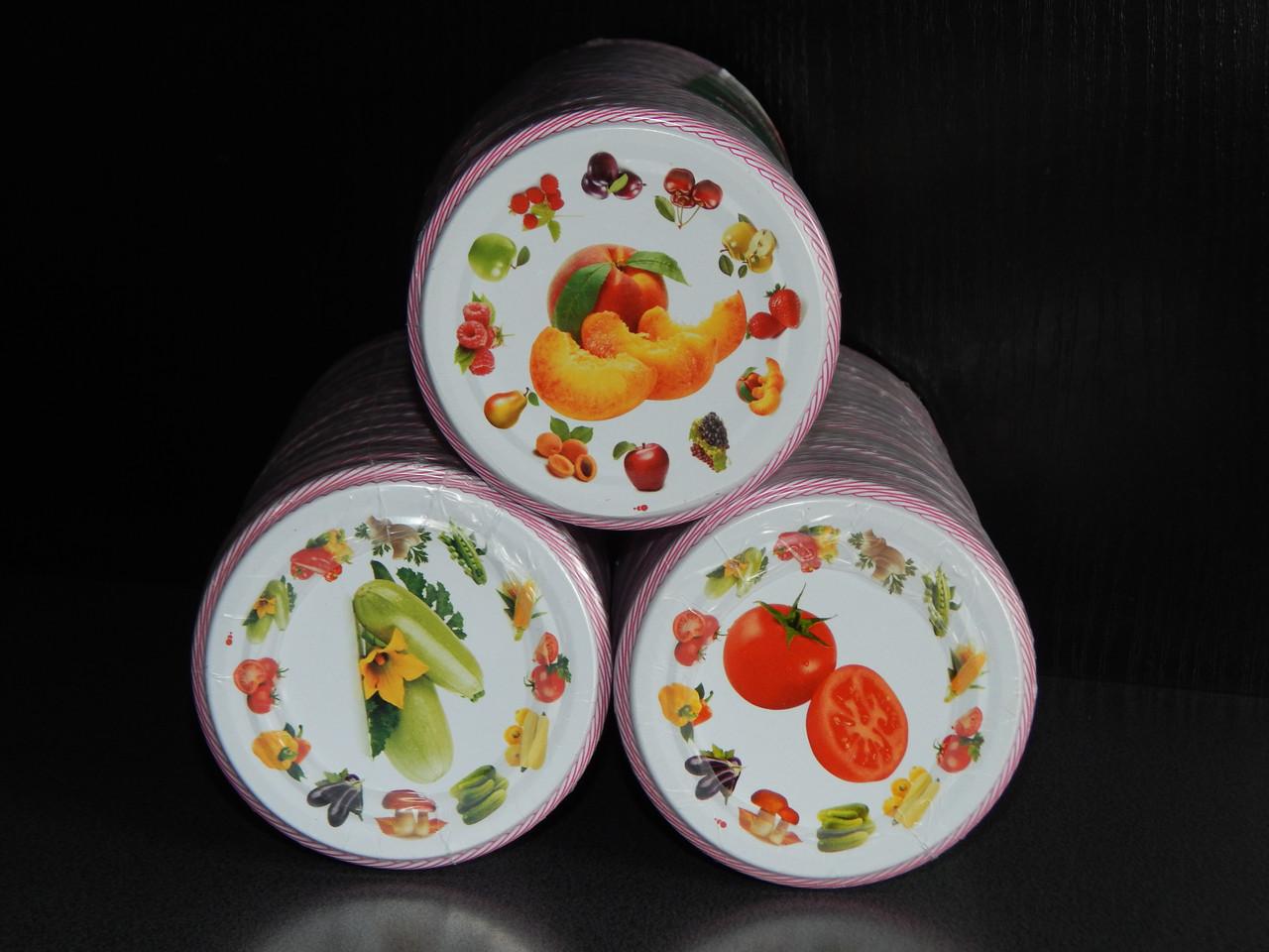 Крышка закаточная СКО 82 литография овощи-фрукты (50 штук в упаковке)