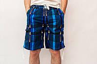 Мужские летние шорты синего цвета (удлиненные)