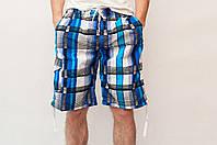 Мужские летние шорты голубые (удлиненные)