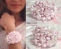 """Свадебный браслет с цветами для невесты или свидетельницы """"Бело-розовый жасмин"""""""