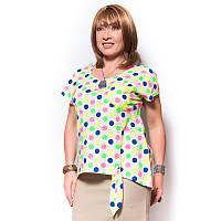 Женская трикотажная блузка-футболка в яркий принт