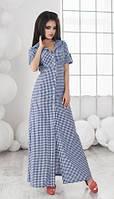 Универсальное длинное женское платье рубашка в клетку под пояс с коротким рукавом коттон