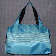 Cумка 114022 голубая с белым женская спортивная из полиэстера размер 40 см х 26 см х 17 см