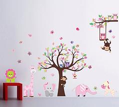 """Декоративные наклейки для детского сада, наклейка в детскую, наклейки на шкаф """"зверье-мое"""" 153см*2м39см"""