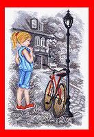 """Схема, вышивка нитками, канва, """"Девочка и велосипед"""" (""""Летние каникулы"""")"""