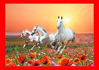 """Схема, частичная вышивка бисером, атлас, """"Белые лошади"""" (""""Ветер странствий"""")"""