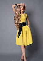 Яркое женское платье под поясок желтого цвета. Размер 46,48