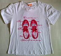 Футболка для девочки трикотажная белая, с розовыми Туфельками, р. 140 см
