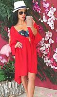Восхитительная пляжная женская туника с поясом и удлинением сзади рукав длинный шифон