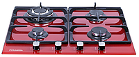 Pyramida PFH 640 STG RED (600 мм.) газовая варочная поверхность, цвет красное закаленное стекло, фото 1