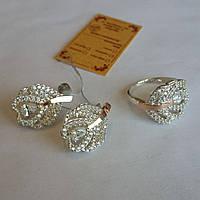Комплект из серебра 925 пробы с золотыми вставками 375 пробы с цирконами