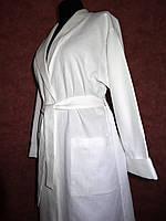 Халат с шалькой (женский), р.48-50. Белый. Вафельное полотно пл. 220 г/м2, хлопок 100%.