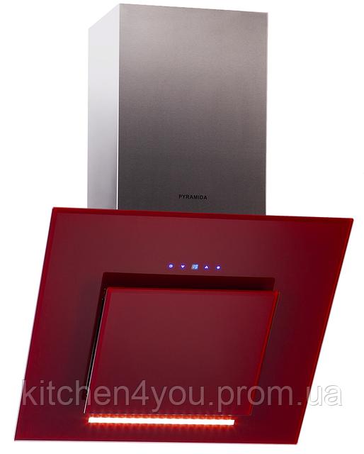Pyramida HES 30 D-600 RED (600 мм.) наклонная кухонная вытяжка, красное стекло / нержавеющая сталь