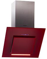 Pyramida HES 30 D-600 RED (600 мм.) наклонная кухонная вытяжка, красное стекло / нержавеющая сталь , фото 1