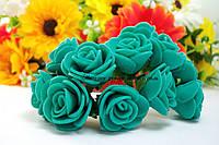 Розы из латекса изумрудного цвета на стебле 2-2.5см