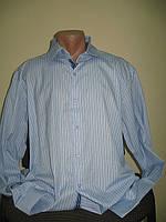 Мужская рубашка полоска, нежно-голубая, 3XL, 4XL