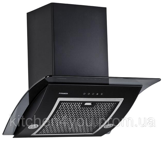 Pyramida RA 60 black/s (600 мм.) наклонная кухонная вытяжка черный корпус / черное стекло