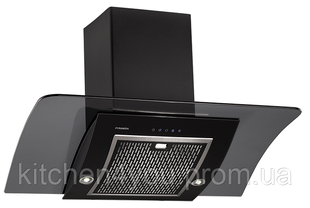 Pyramida RA 90 black/s (900 мм.) наклонная кухонная вытяжка черный корпус / черное стекло