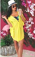Оригинальная пляжная женская туника с расклешенными рукавами три четверти шифон