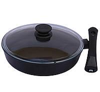 Сковорода со съемной ручкой и крышкой Биол Классик 24 см (24071ПС)