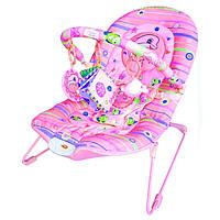 Детский шезлонг-качалка для новорожденных М 1103, розовый