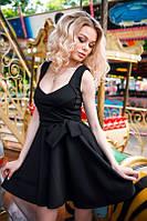 Черное короткое платье на широких бретелях, фото 1