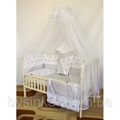 """Детское постельное белье в кроватку с атласной лентой- """"Птички"""" без балдахина"""
