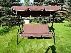 Садовая качеля Majka, коричневая, с козырьком, фото 2