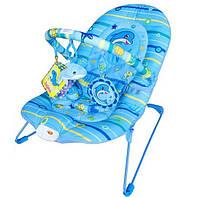Детский шезлонг-качалка для новорожденных М 1103, голубой