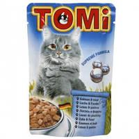TOMi salmon trout ЛОСОСЬ ФОРЕЛЬ консервы для кошек, влажный корм, пауч 100гр